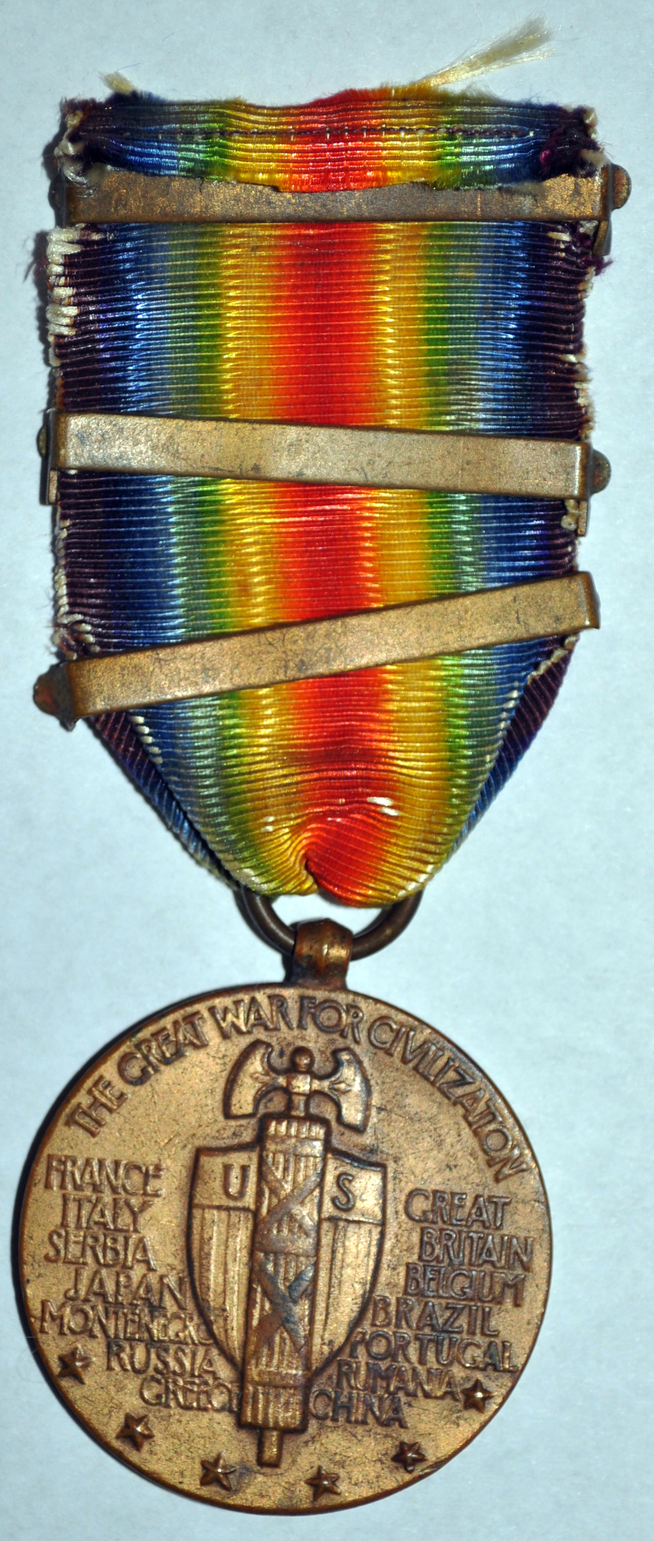 Great War Medal, Back, Earl L. Stahl Collection, Courtesy of Craig Bowers.