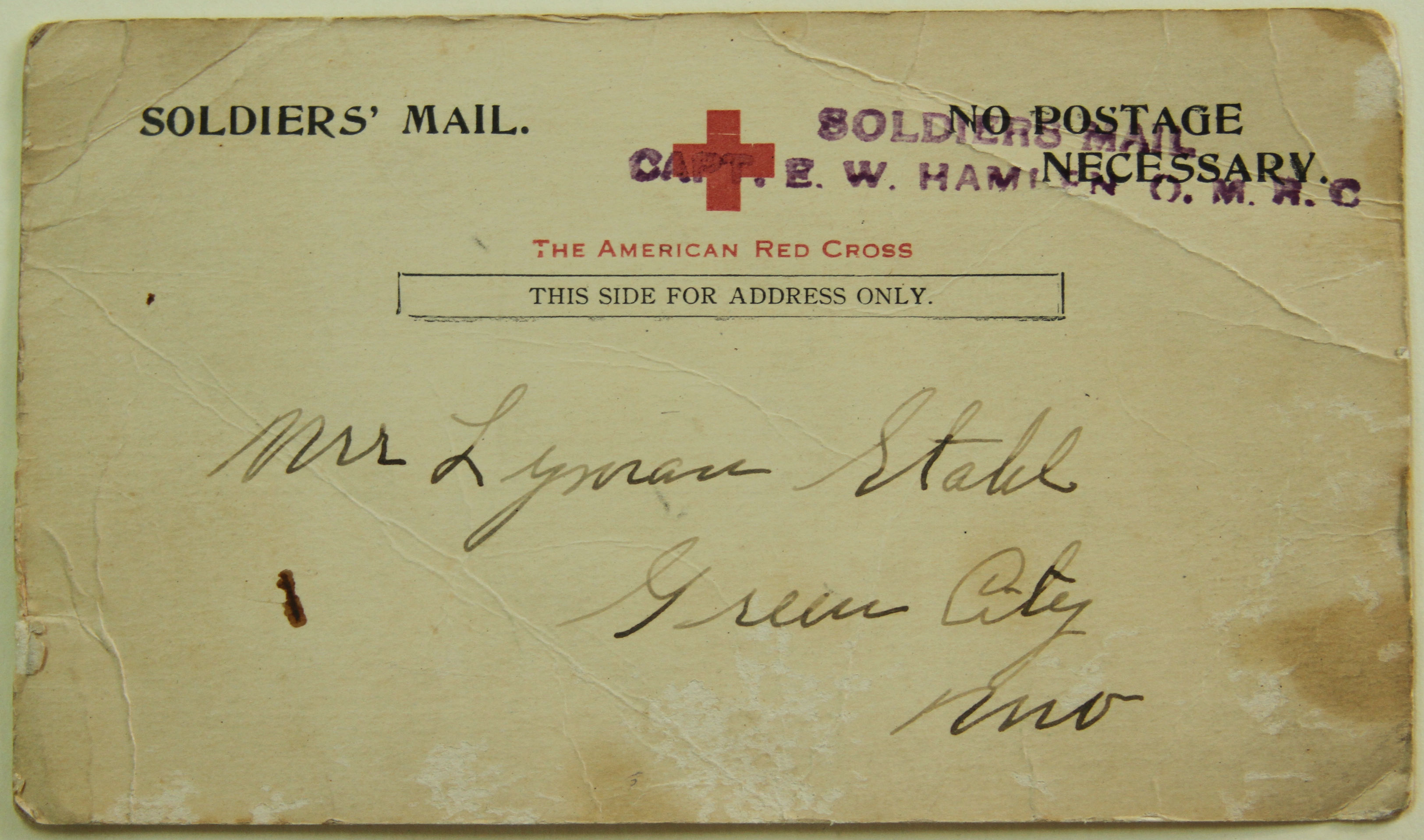 Postcard to Lyman Stahl, Back, Earl L. Stahl Collection, Courtesy of Craig Bowers.