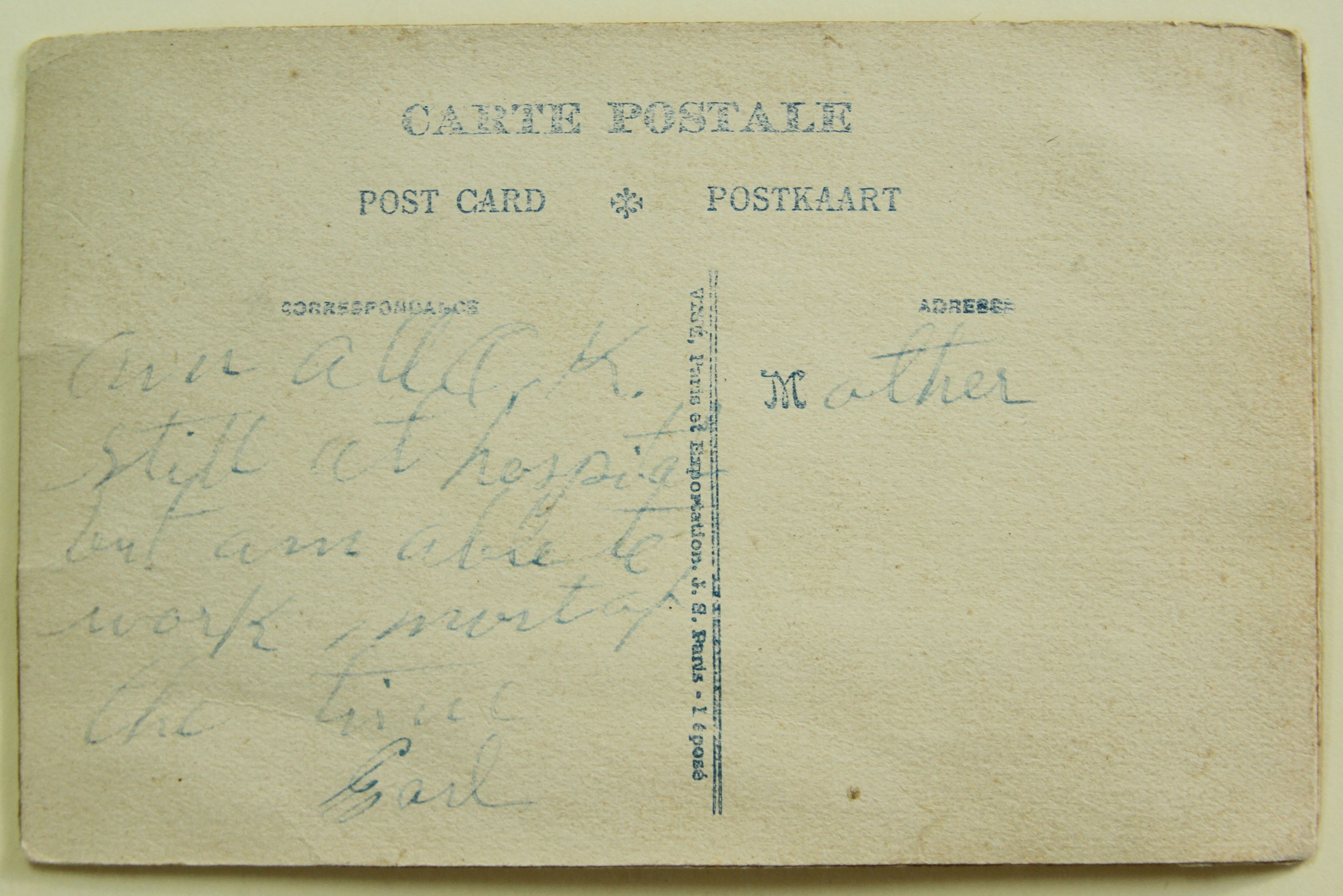 Postcard to Mother, Back, Earl L. Stahl Collection, Courtesy of Craig Bowers.