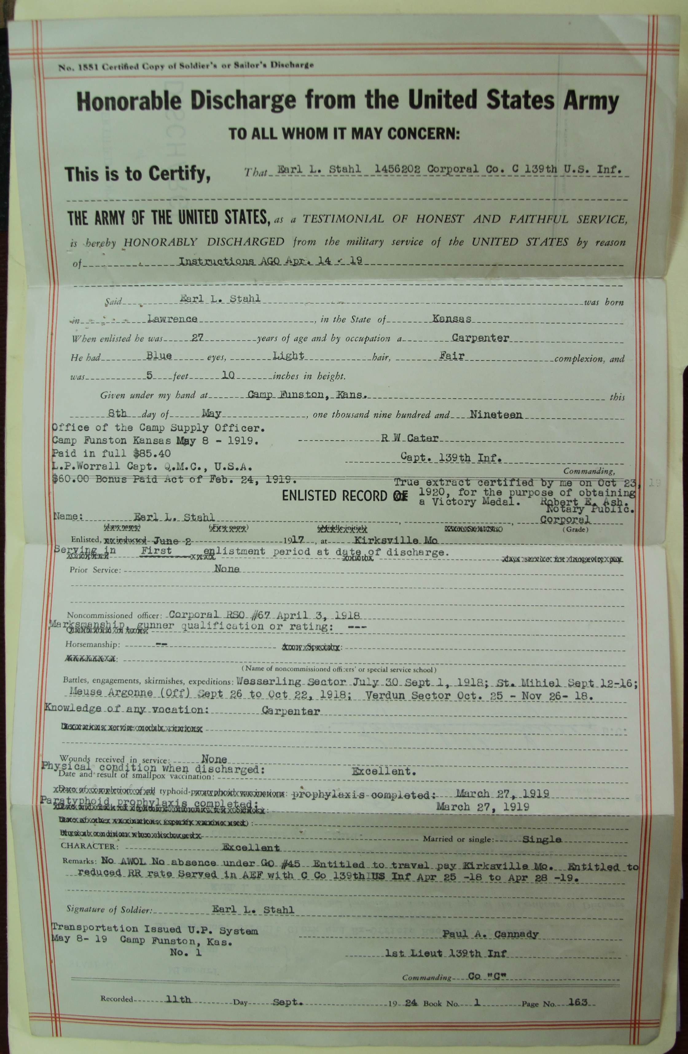Honorable Discharge Form, Earl L. Stahl Collection, Courtesy of Craig Bowers.